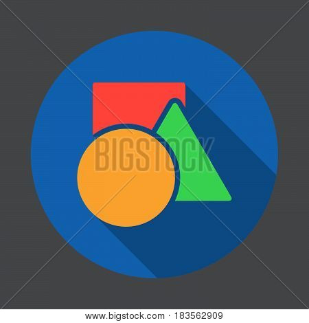 Shapes - circle square triangle flat icon. Round colorful button circular vector sign with long shadow effect. Flat style design