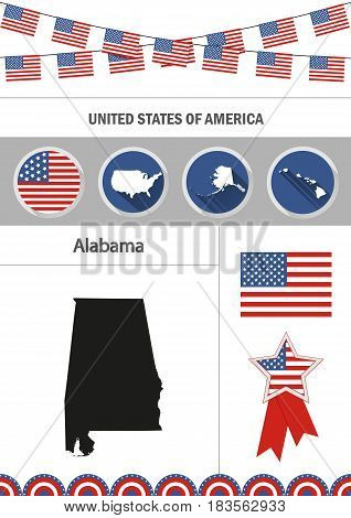 Map of Alabama. Set of flat design icons nfographics elements with American symbols.