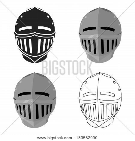 Medieval helmet icon cartoon. Single weapon icon from the big ammunition, arms cartoon.