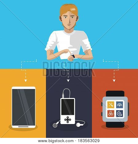 internet things man wearable technology mp3 watch mobile phone vector illustration