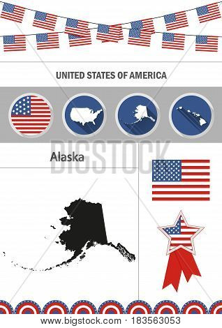 Map of Alaska. Set of flat design icons nfographics elements with American symbols.
