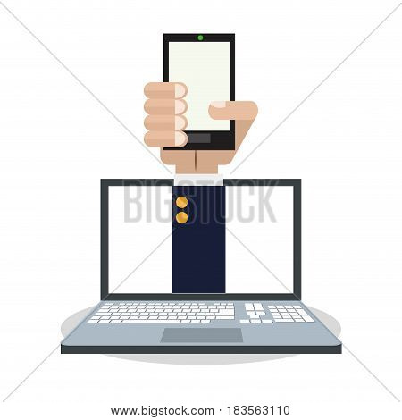 internet things hand holds smartphone computer online connection vector illustration