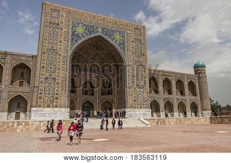 Samarkand, Uzbekistan - April 26, 2015: Madrasah Tilla-Kari on Registan square Samarkand Uzbekistan