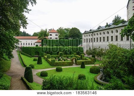Garden of Ambras Castle (Schloss Ambras) a Renaissance sixteenth century castle and palace located in the hills above Innsbruck Austria.