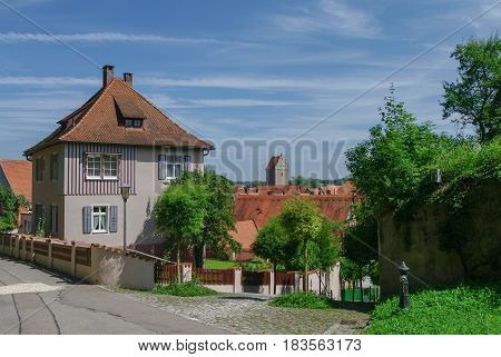 Street View Of Dinkelsbuhl, One Of The Archetypal Medieval Towns On The German Romantic Road. German