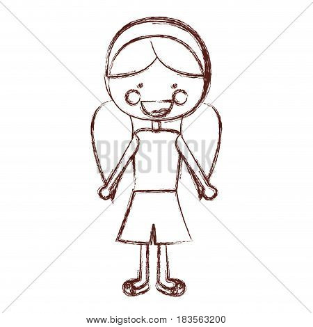 blurred contour smile expression cartoon pigtails hair girl with shirt and skirt vector illustration