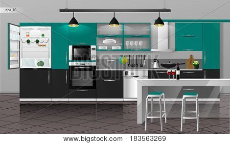 Modern interior of the emerald gray kitchen with floor tiles. Vector illustration. Household kitchen appliances cabinets, shelves, gas stove, cooker hood, refrigerator, microwave, dishwasher, cookware