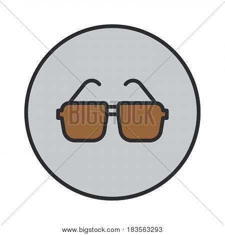 Glasses sunglasses filled outline icon round colorful vector sign circular pictogram. Symbol logo illustration