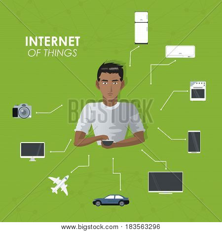internet things man with smartphone entertainment travel appliance mobile vector illustration