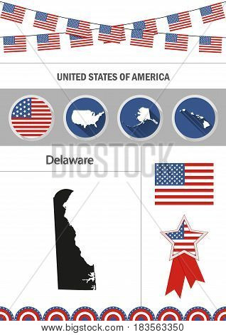 Map of Delaware. Set of flat design icons nfographics elements with American symbols.