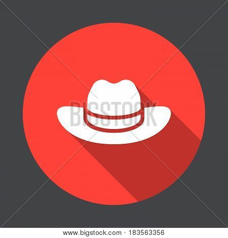 Men's Cowboy Hat flat icon. Round colorful button circular vector sign with long shadow effect. Flat style design