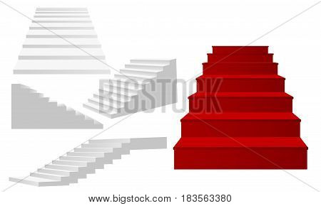 Illustration of a ladder. Ascent, climbing up. Stairs in different angles