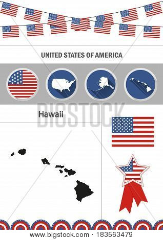 Map of Hawaii. Set of flat design icons nfographics elements with American symbols.