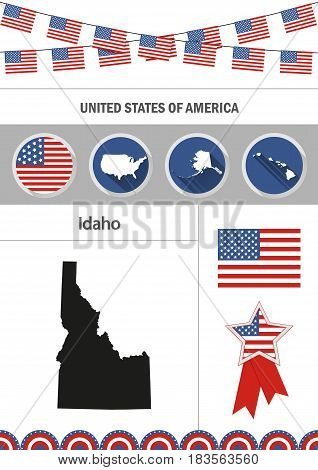 Map of Idaho. Set of flat design icons nfographics elements with American symbols.
