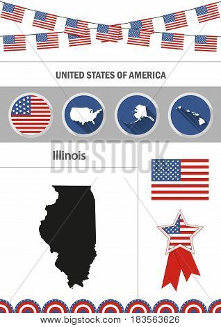 Map of Illinois. Set of flat design icons nfographics elements with American symbols.