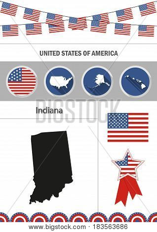 Map of Indiana. Set of flat design icons nfographics elements with American symbols.