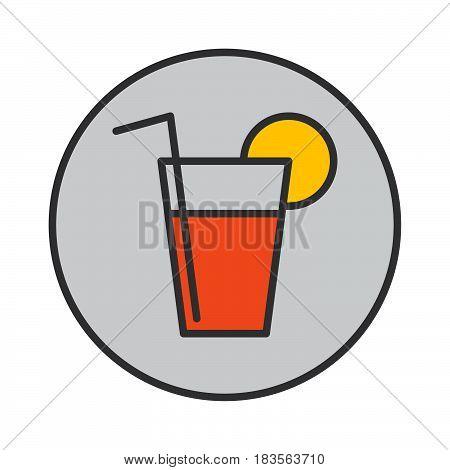 Lemonade fresh drink filled outline icon round colorful vector sign circular pictogram. Symbol logo illustration