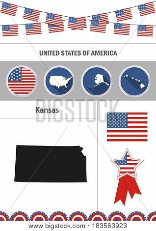 Map of Kansas. Set of flat design icons nfographics elements with American symbols.