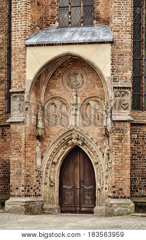 Portal of the Gothic church in Frenkurt on the Oder