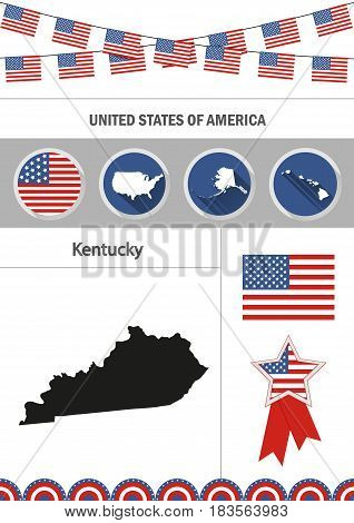 Map of Kentucky. Set of flat design icons nfographics elements with American symbols.