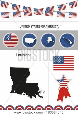 Map of Louisiana. Set of flat design icons nfographics elements with American symbols.