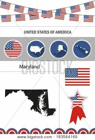 Map of Maryland. Set of flat design icons nfographics elements with American symbols.