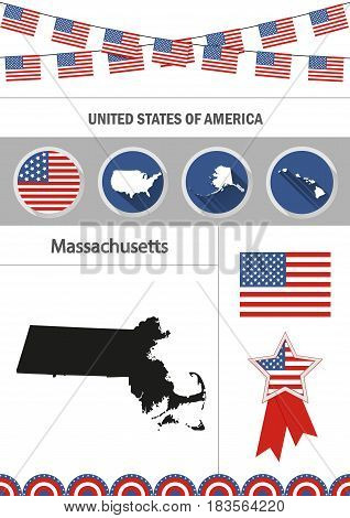 Map of Massachusetts. Set of flat design icons nfographics elements with American symbols.