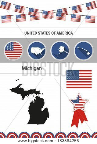 Map of Michigan. Set of flat design icons nfographics elements with American symbols.