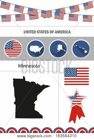 Map of Minnesota. Set of flat design icons nfographics elements with American symbols.