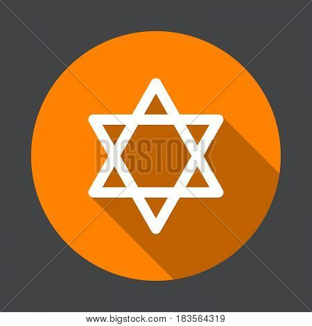 Star of David flat icon. Round colorful button circular vector sign with long shadow effect. Flat style design