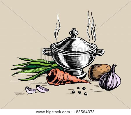 Tureen and for cooking vegetables. Finished food hot. vector color sketch. egetarian and vegan food.