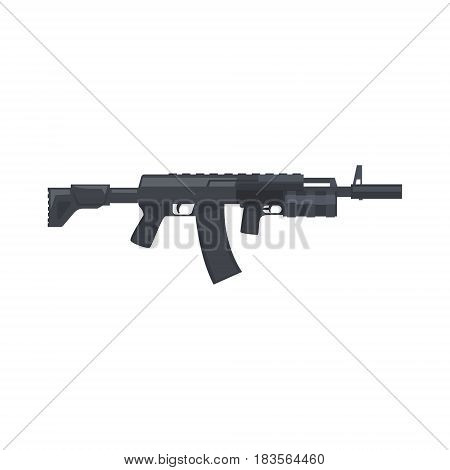 Kalashnikov assault rifle. Military weapon vector Illustration isolated on a white background