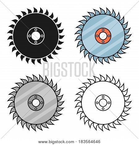 Saw disc icon in cartoon style isolated on white background. Sawmill and timber symbol vector illustration.