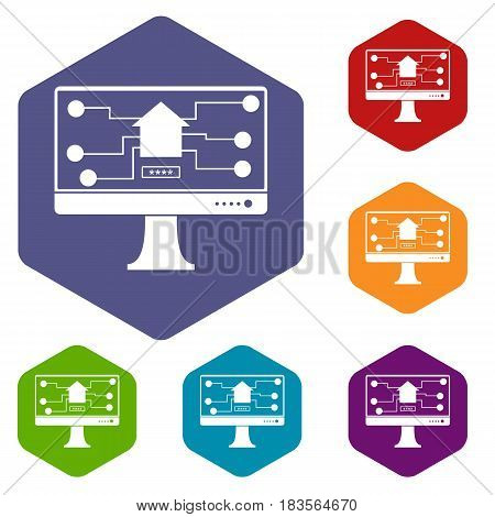 Monitor chip icons set hexagon isolated vector illustration