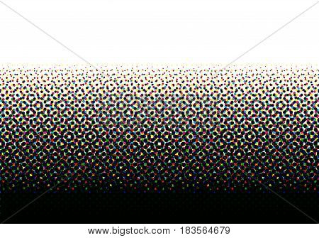 CMYK halftone seamless horizontal pattern. Colorful printed background.