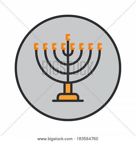 Hanukkah menorah filled outline icon round colorful vector sign circular flat pictogram. Symbol logo illustration