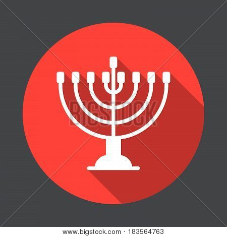 Hanukkah menorah flat icon. Round colorful button circular vector sign with long shadow effect. Flat style design
