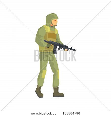 Army soldier. Men in camouflage combat uniform character vector Illustration isolated on a white background