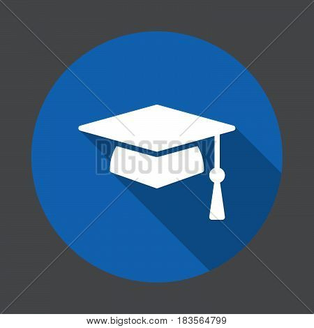 Square academic cap graduation hat flat icon. Round colorful button circular vector sign with long shadow effect. Flat style design