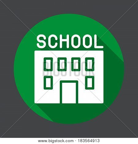 School building flat icon. Round colorful button circular vector sign with long shadow effect. Flat style design