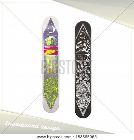 Design of a snowboard with the image of extraterrestrial guest stealing marijuana. Dark and light on a white background.