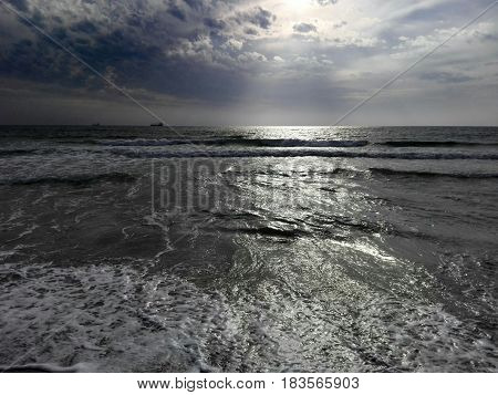 Photo of the beach early in the morning. Seascape.