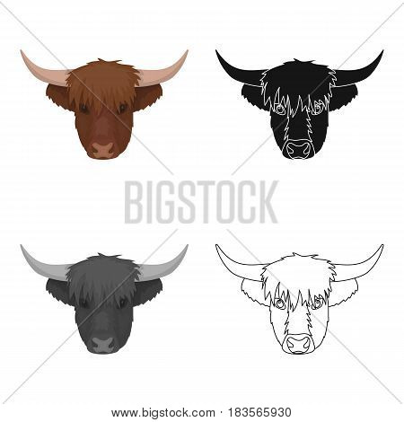 Highland cattle head icon in cartoon design isolated on white background. Scotland country symbol stock vector illustration.