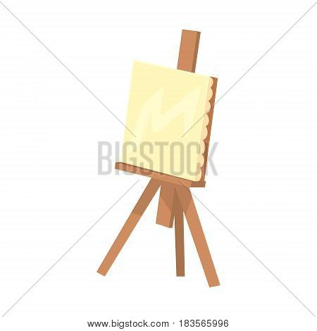 Wooden easel with canvas. Artistic equipment colorful cartoon vector Illustration isolated on a white background