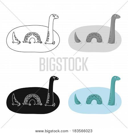 Loch Ness monster icon in cartoon design isolated on white background. Scotland country symbol stock vector illustration.