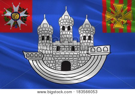 Flag of Saint-Dizier is a commune in the Haute-Marne department in north-eastern France. 3d illustration