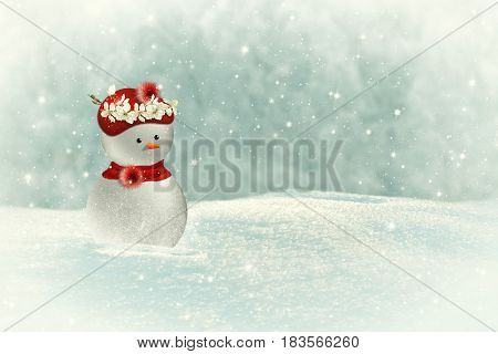 Snowman with a wreath of sakura flowers on a winter background