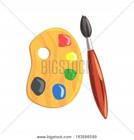 Wooden art palette and paintbrush. Tools for painting and creature colorful cartoon vector Illustration isolated on a white background
