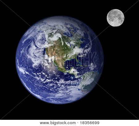 images of earth and full moon