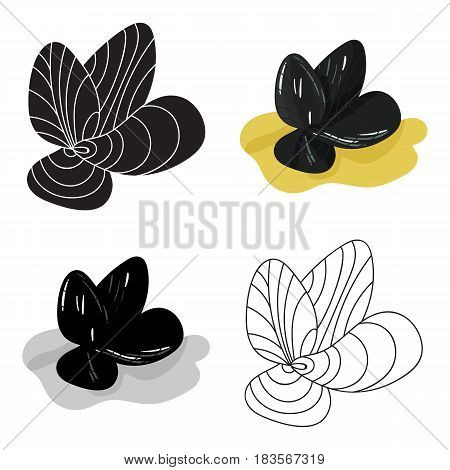 Mussels icon in cartoon design isolated on white background. Sea animals symbol stock vector illustration.